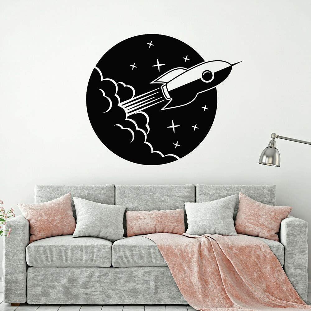 jiushivr Rocket Ship Vinyl Wall Decal Space Star Astronaut ...