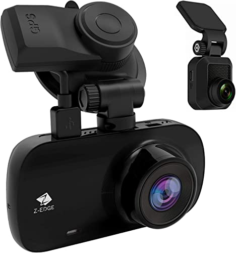 Dual Dash Cam, Z-Edge Z3D 2.7 Screen Dual 1920 x 1080P Dash Cam Front and Rear 2560x1440P Single Front with GPS, Support 256GB max, WDR, Super Night Vision, Parking Mode, G-Sensor