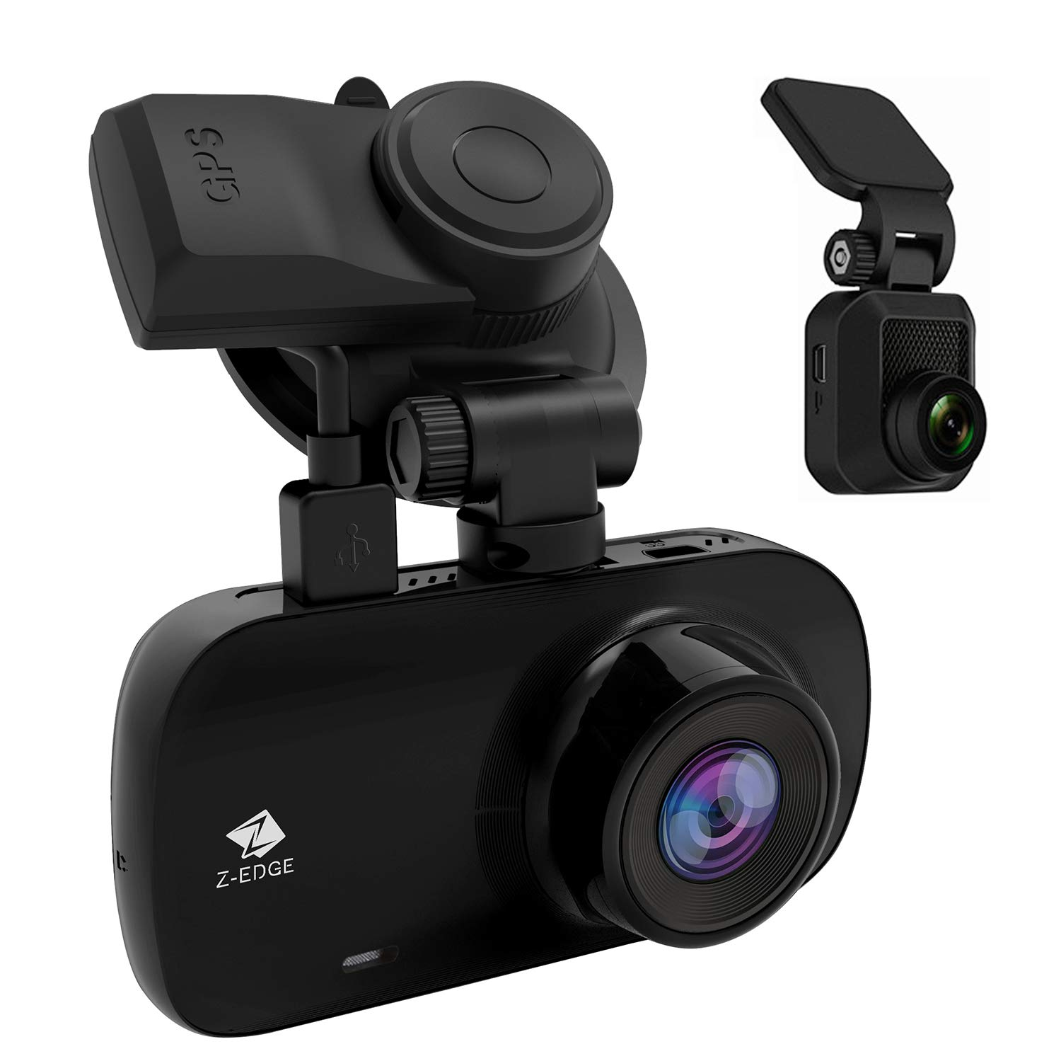Z-Edge Z3D Dual Lens Dash Cam, 2.7'' Screen Ultra HD 1440P Front & 1080P Rear 150 Degree Wide Angle Front and Rear Dash Cam, Dashboard Camera with GPS, WDR, Low Light Vision, Parking Mode, G-Sensor