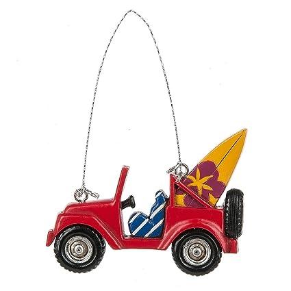 Midwest-CBK rojo Jeep con adorno de Navidad de tablas de surf