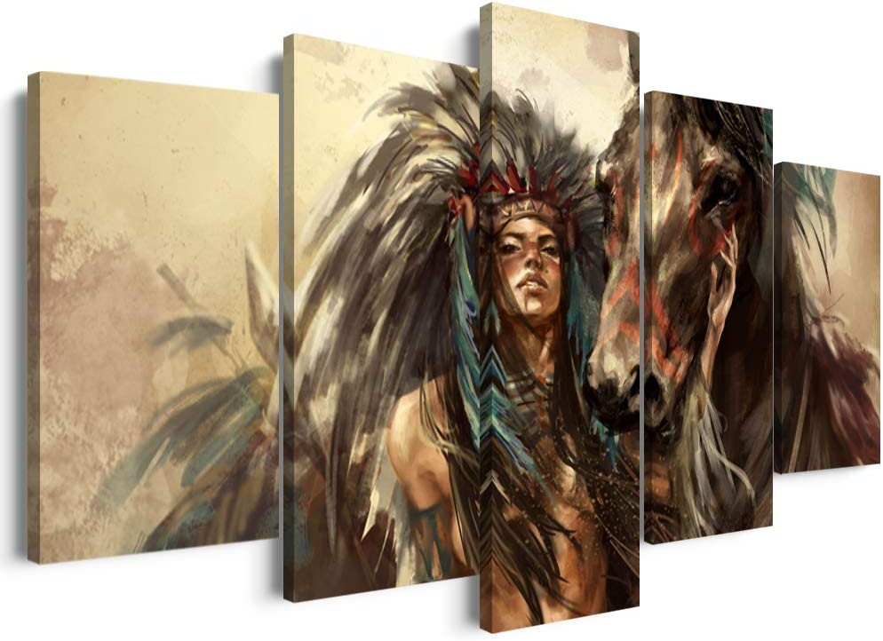 5 Panels Modern American Indian Wall Art Painting Framed Vintage Native Chief with Horse Painting Animal Posters Easy to Hang for Home Decor (50''W x 24''H)