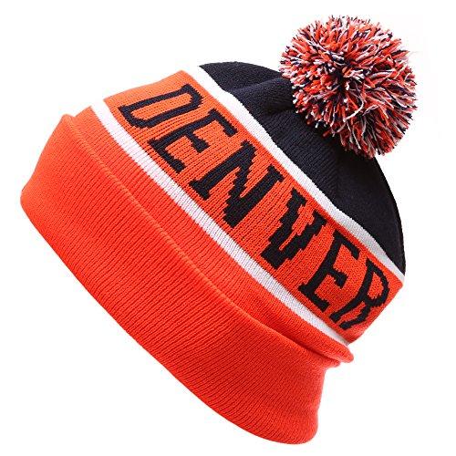 Varsity Sweater Costume (MIRMARU USA Favorite City Cuff Winter Knitted Pom Pom Beanie Hat. (Denver,OrangeNavy))