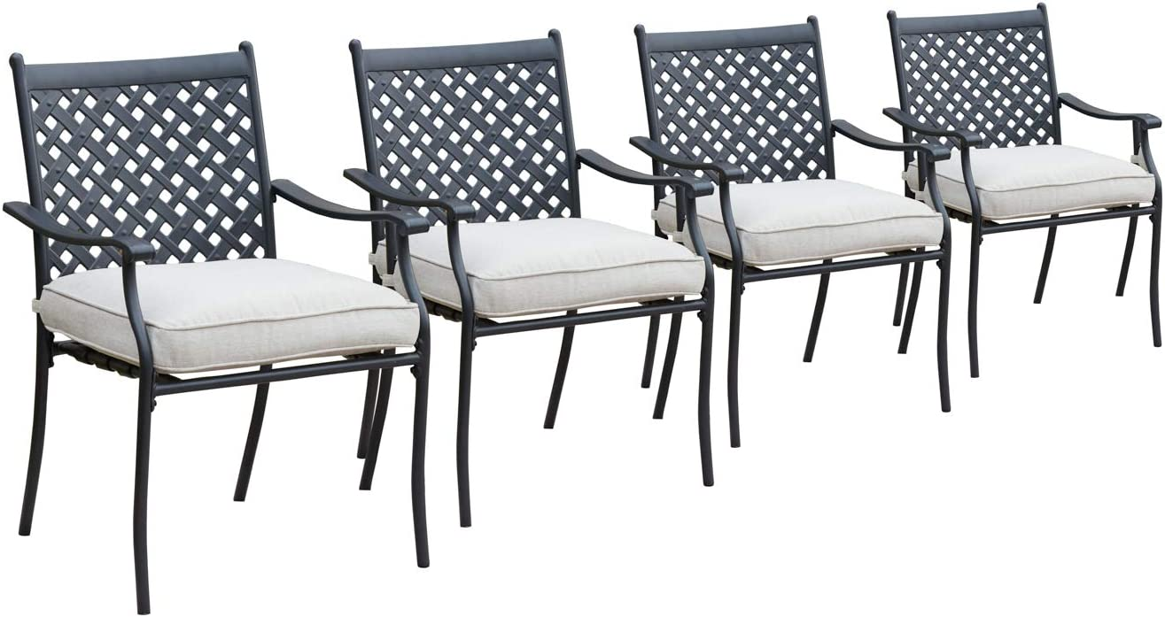LOKATSE HOME 4 Piece Outdoor Patio Metal Wrought Iron Dining Chair Set with Arms and Seat Cushions - Beige