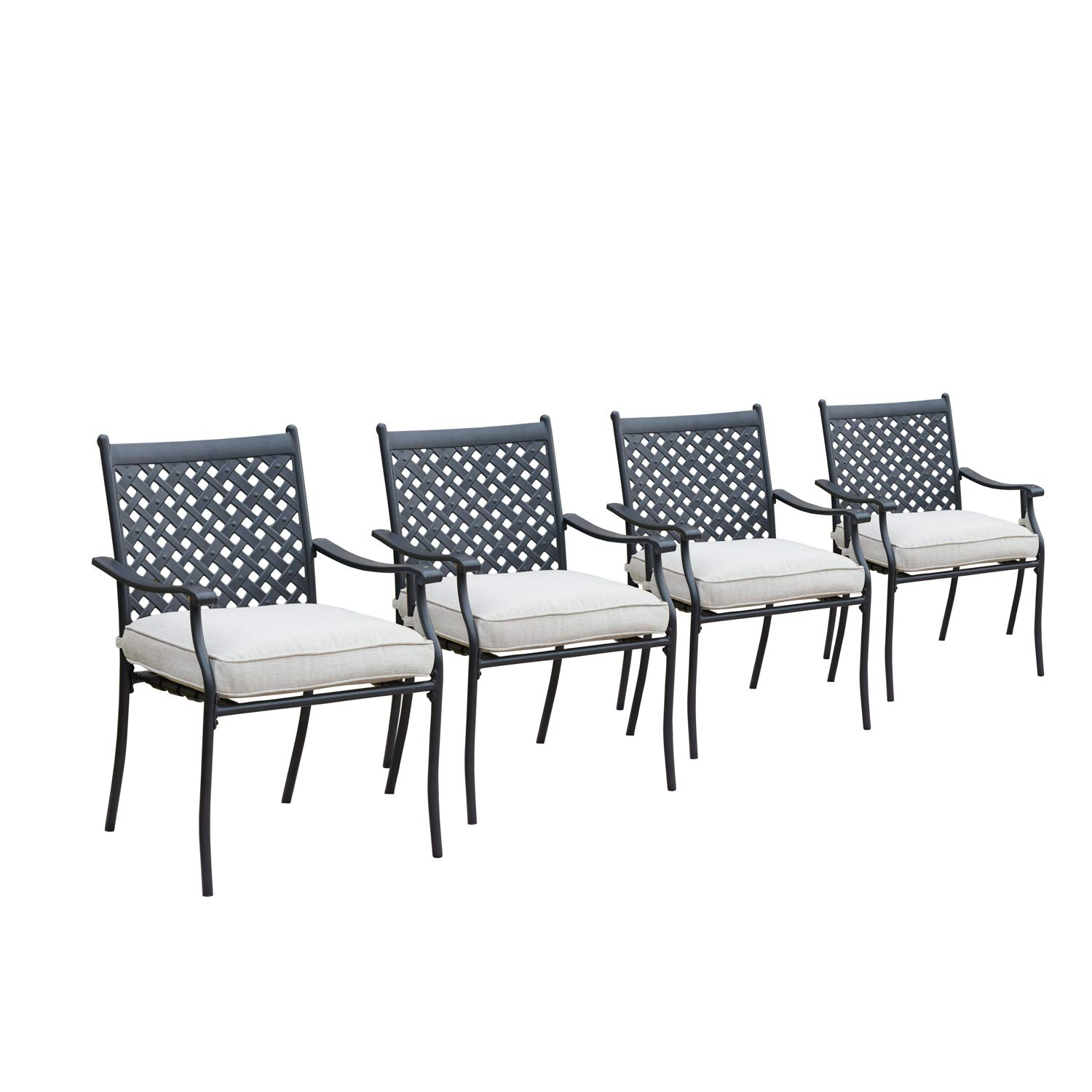 LOKATSE HOME 4 Piece Outdoor Patio Metal Wrought Iron Dining Chair Set with Arms and Seat Cushions, White by LOKATSE HOME