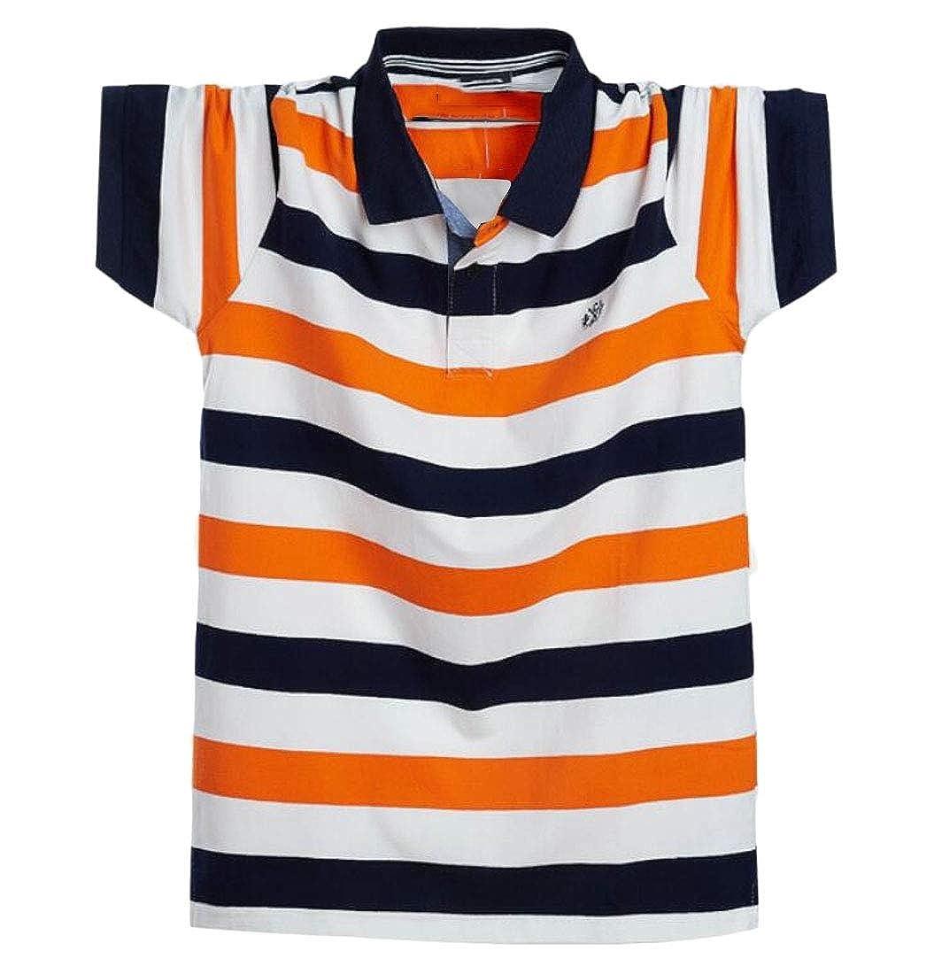 Joe Wenko Mens Lapel Striped Short Sleeve T-Shirt Plus Size Pullover Polo