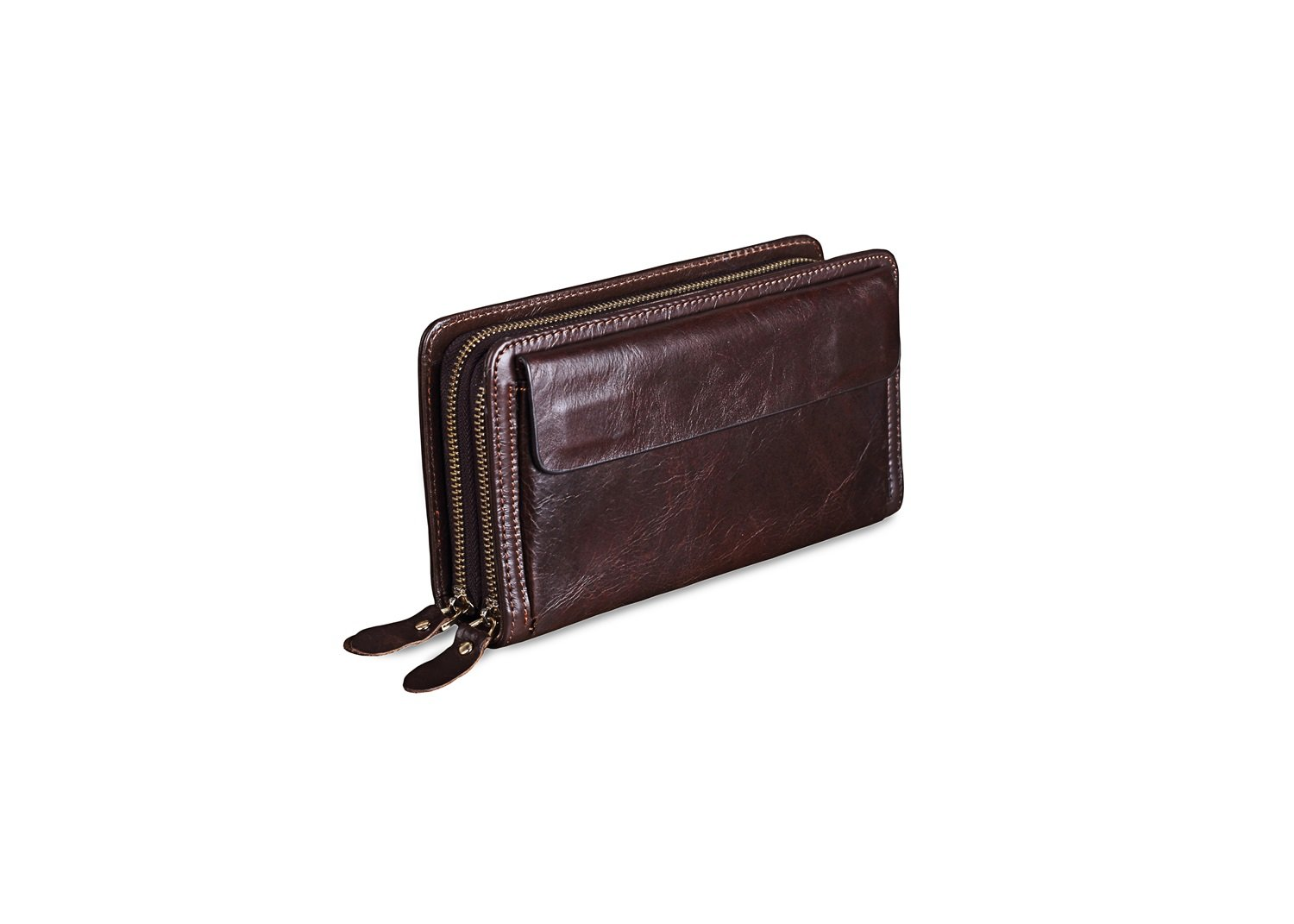 Color : Brown, Size : S XINXI-MAO Cozy Mens Wallet Clutch Bag Double Zipper Leather Business Clips The First Layer of Leather Clip Backpack