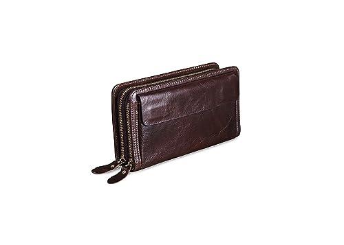 Billetera, Bolso de embrague de cartera para hombres Clips de negocios de doble cremallera de
