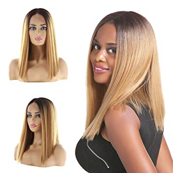 Synthetic Hair Lace Front Wig Short Bob Wigs Yaki Straight Middle 14Inch X-TRESS