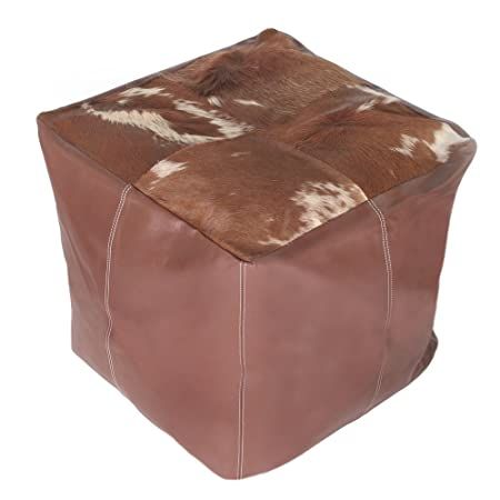 Superb Real Leather Cow Hide Dark Brown Natural Cube Footstool Bean Creativecarmelina Interior Chair Design Creativecarmelinacom