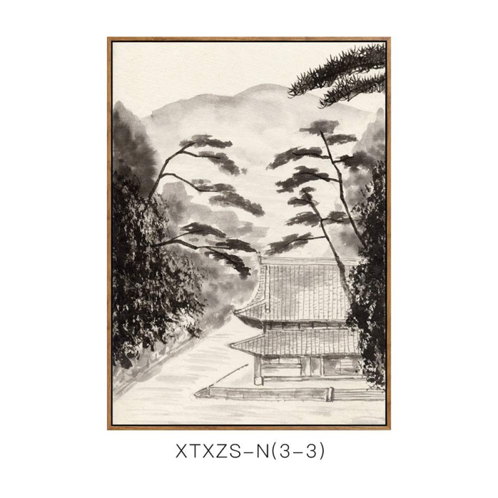 SED New Chinese-Style Living Room Porch Bedroom Decorative Painting, Sofa Background Wall Office Landscape Painting, Hanging Painting,C,3040cm by SED