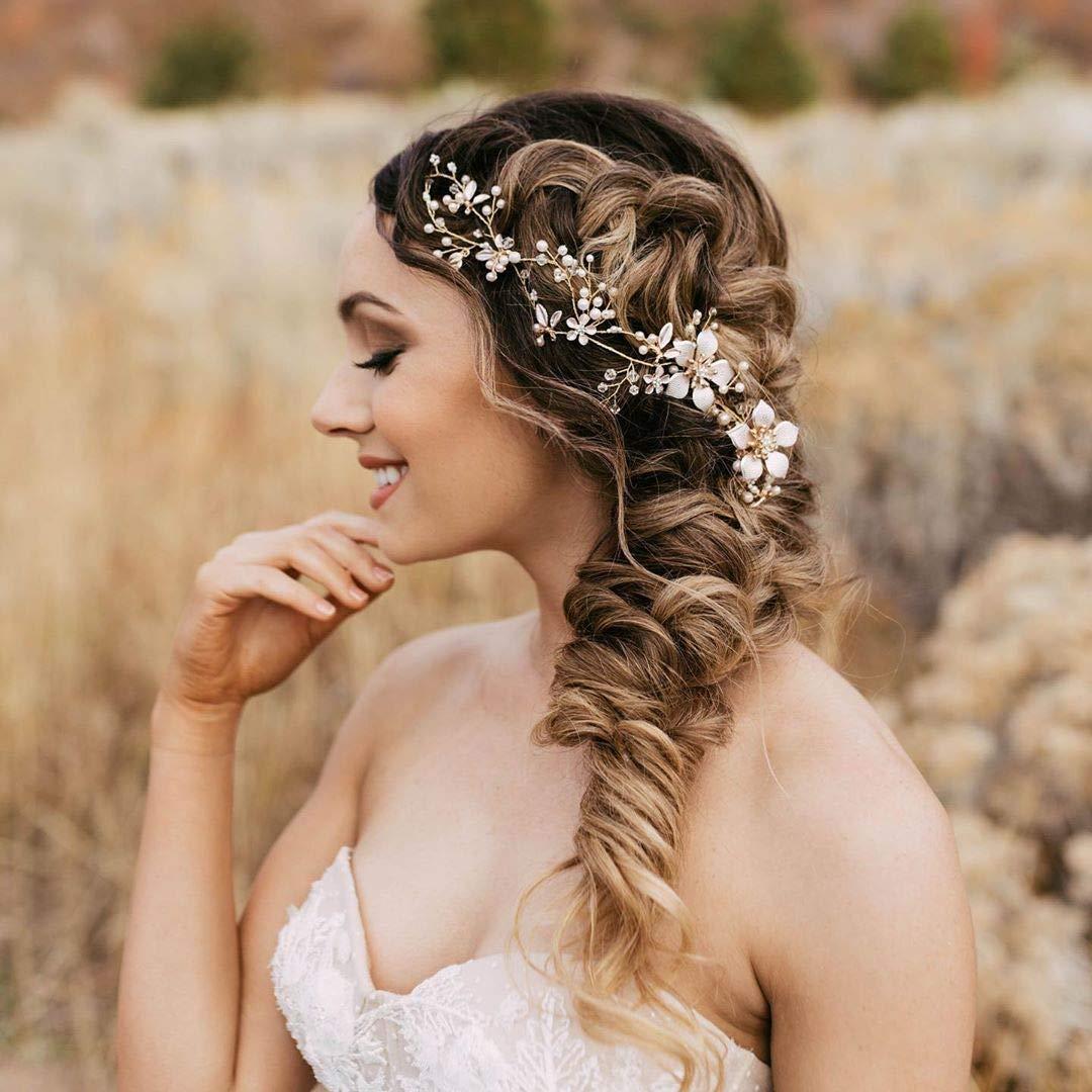 Blumenmuster Gold Blätter Perle Hochzeit Haar Tiara Braut Stirnband Haarband