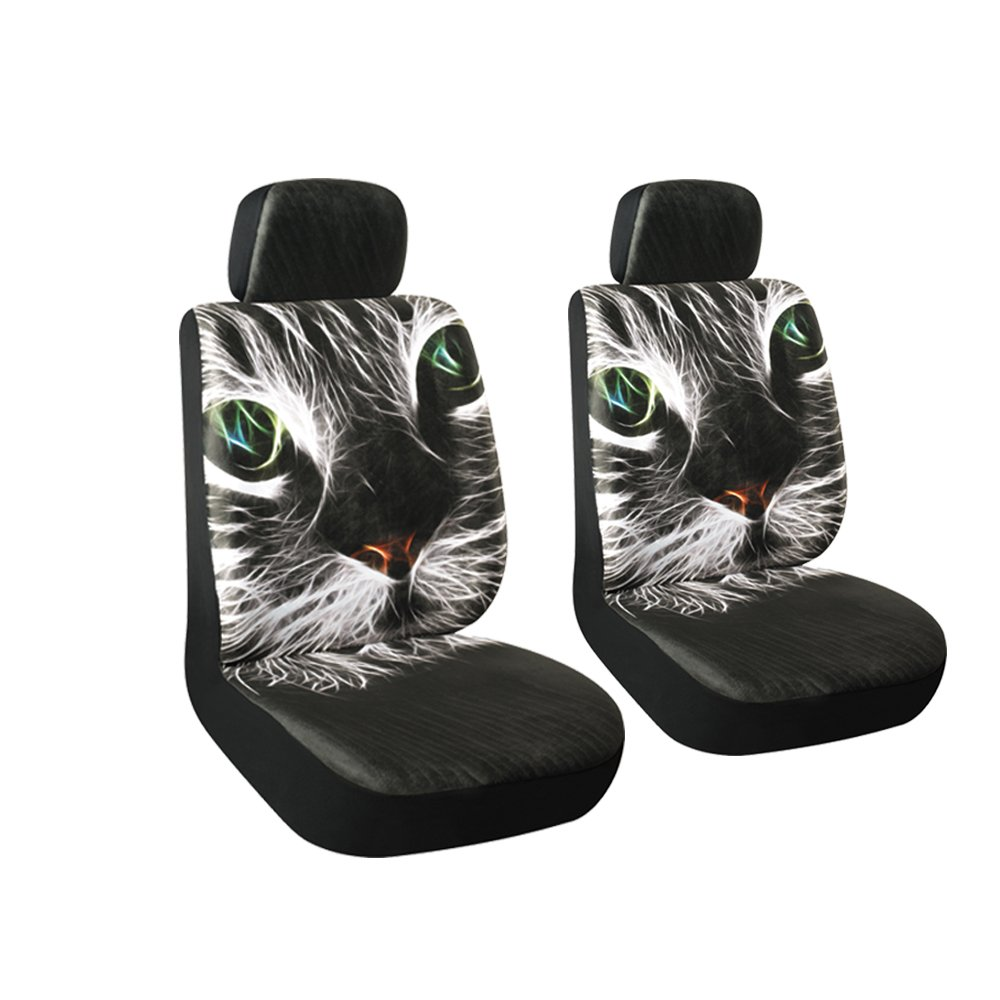 Autojoy Soft Velvet Car Seat Covers with Animals Digital Printing,Silky,Non-slip Universal Fit Front Seats