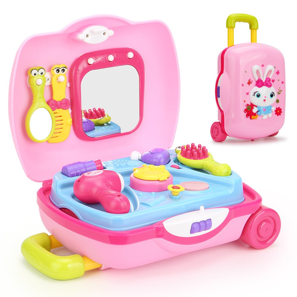 Toyk Super Fun Multifunctional Music Suitcase Kids Learn Beauty Salon Cosmetic Toys Set Lights with Adjustable Sound Educational Music Toys for 1 2 3 4 5 6 7 8 9 10 Year Old Boys Girls