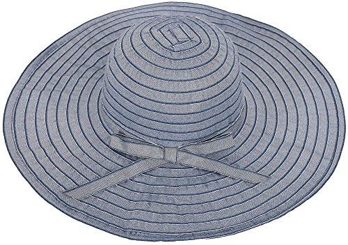 Simplicity Women's Summer UPF 50+ Roll Up Floppy Beach Hat w/ Ribbon Denim (Shield Hat)