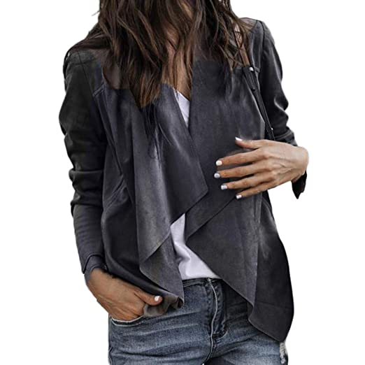 b514dfe353 Image Unavailable. Image not available for. Color  Drfoytg Women Fashion  Cardigan Lapel Leather Jacket Open Front Oversized Office Coat Autumn