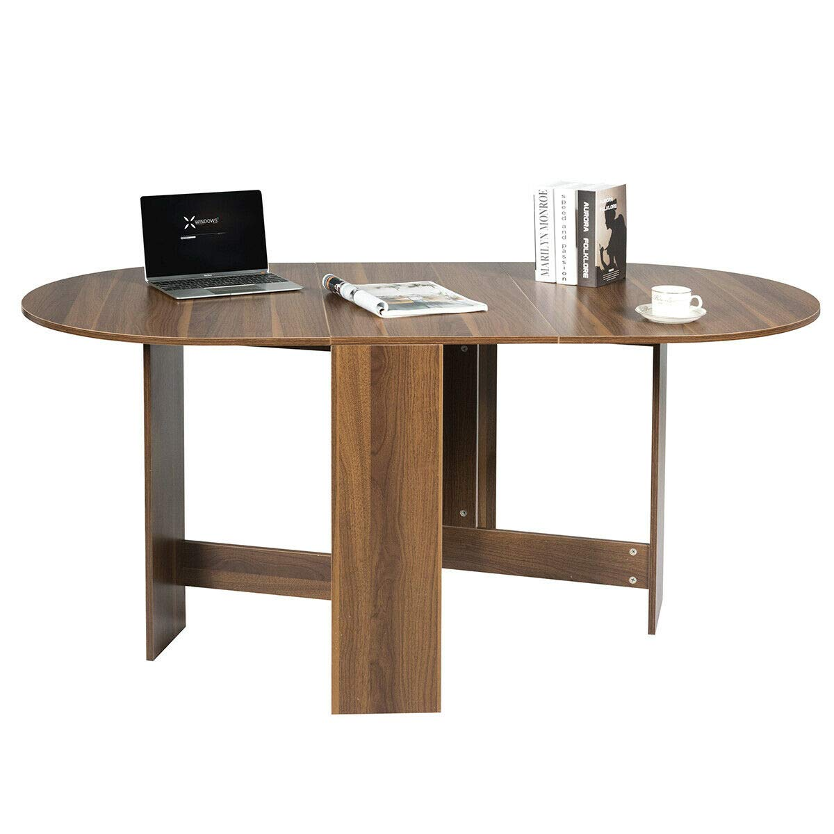 Giantex Folding Dining Table, Drop Leaf Extendable Multifunction Table with Humanized Round Edges, Space Saverfor Dining Room Kitchen Home Compact Design Wood Grain Furniture