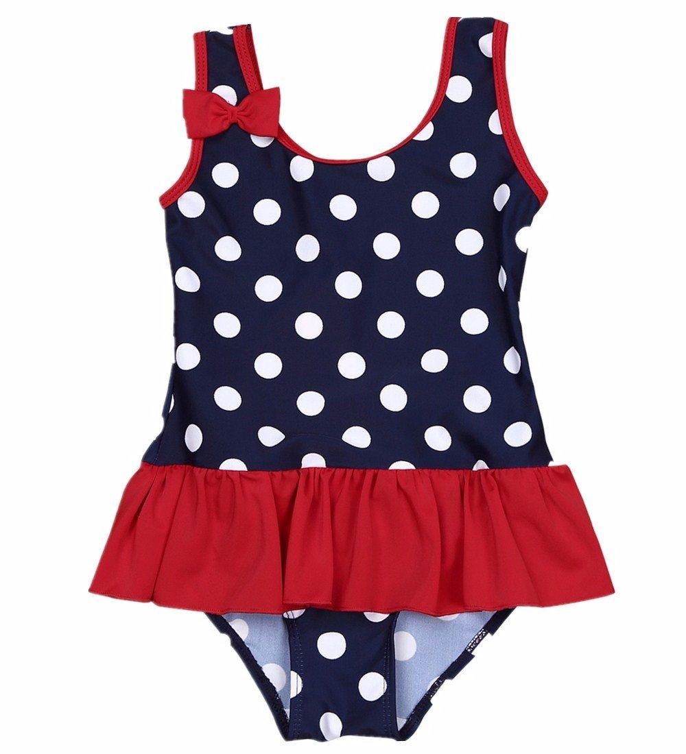 iiniim Baby Girls One Piece Swimwear Cute Polka Dot Swimming Costume Princess Bowknot Bathing Swimdress