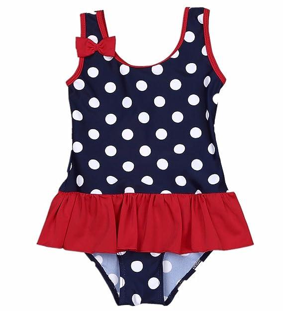 21ce80af31 iiniim Baby Girls One Piece Swimwear Cute Polka Dot Swimming Costume  Princess Bowknot Bathing Swimdress  Amazon.co.uk  Clothing