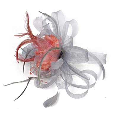 Orange Kentucky Derby Wedding Tea Party Sinamay feather Fascinator Cocktail 617
