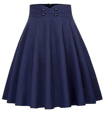 SJHJA Faldas para Mujer Falda Plisada Estilo Años 50 Azul Oscuro ...