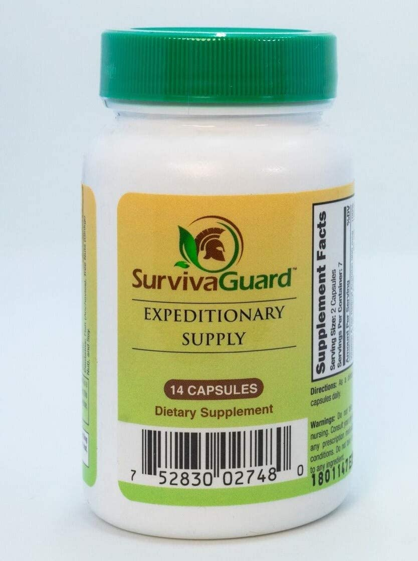 SurvivaGuard Vitamins for Off-Grid Adventures, Bug Out Bags - 14 Capsule Vitamins - One Week 'Expeditionary' Supply   100% RDA Vitamins & Minerals + NutriPrep for Energy   3 Year Shelf Life