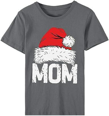 K-Youth Camiseta Mujer Navidad 2019 Ofertas Camisetas de Manga Corta Mujer Talla Grande Flojo Blusas de Fiesta de Mujer Blusa Pullover Tops Ropa para Mujeres Camisas Casual T Shirt: Amazon.es: Ropa y