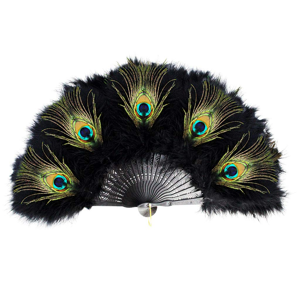 Yolyoo Vintage Style Marabou Feather Hand Fan Peacock Folding Handheld Fan for Dancing Party Flapper