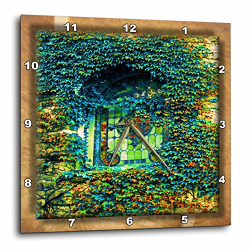 Ivy and Stained Glass Wall Clock,- stained glass wall clocks