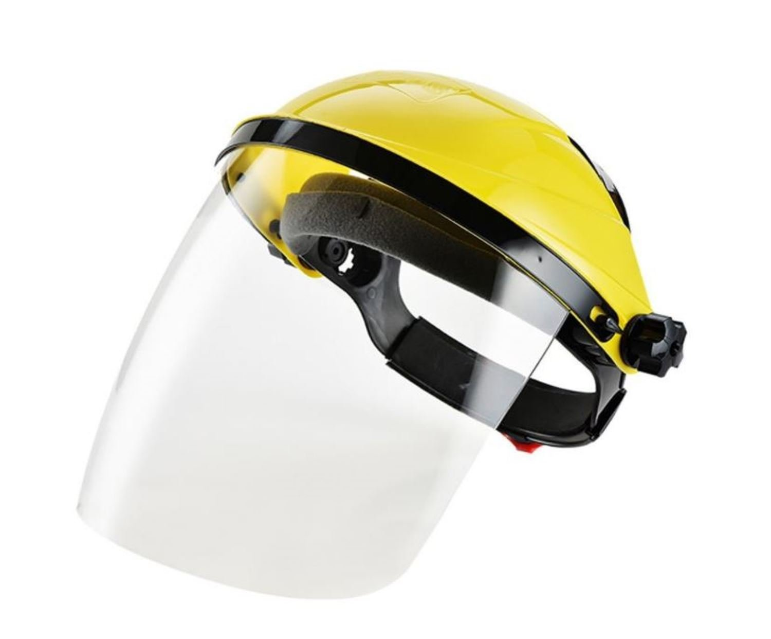 Safety Works Adjustable Headgear Face shield with Visor Mask Clear Face and Head Coverage Polycarbonate Used for - Light Construction, General Manufacturing, Cutting Metal, Cutting Wood (TL-1021)