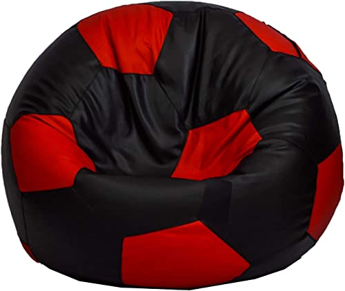 RestLounge Leatherette Empty Bean Bag Cover, Without Beans Filler Beans with Easy Carry Handle XXXL-Height 50 ,Base 25 , Black-Red Football Shape
