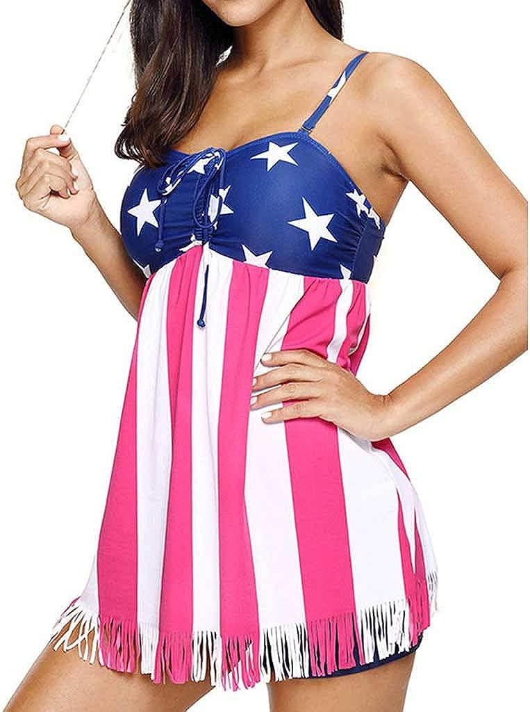 Mikilon Womens Plus Size Swimdress Two Piece USA Flag Print Swimsuit Tankini Set
