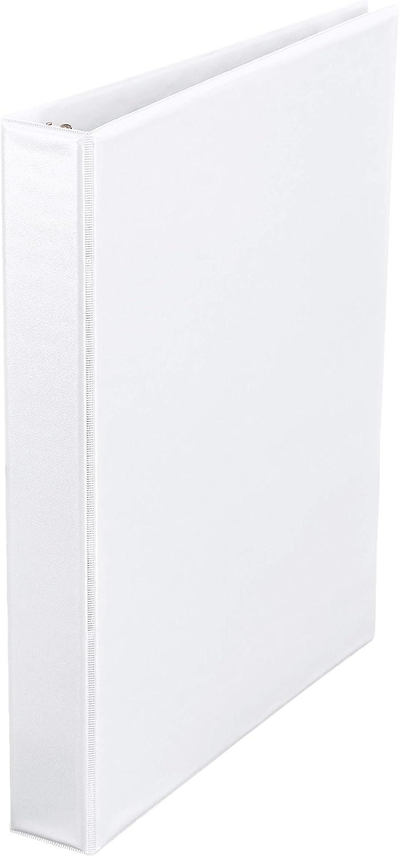 AmazonBasics 1-Inch Round Ring Binder, White, View, 12-Pack