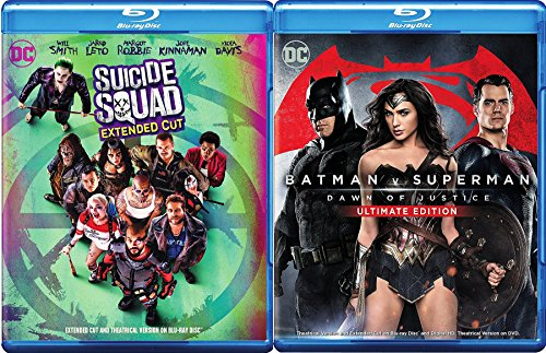 DC Cinematic Universe 2-Movie Bundle - Batman v Superman: Dawn of Justice (Ultimate Edition Extended Cut) & Suicide Squad (Extended Cut DVD + Blu-ray + Digital + Ultraviolet) Blu-ray (Cage 2 Bat)