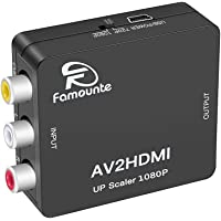 RCA to HDMI Converter,Famounte RCA to HDMI Adapter Composite AV/CVBS Video Audio to HDMI Converter Full HD 720P 1080P with USB Power Cable for PS2/PS3/VHS/VCR/Blue-Ray DVD Players