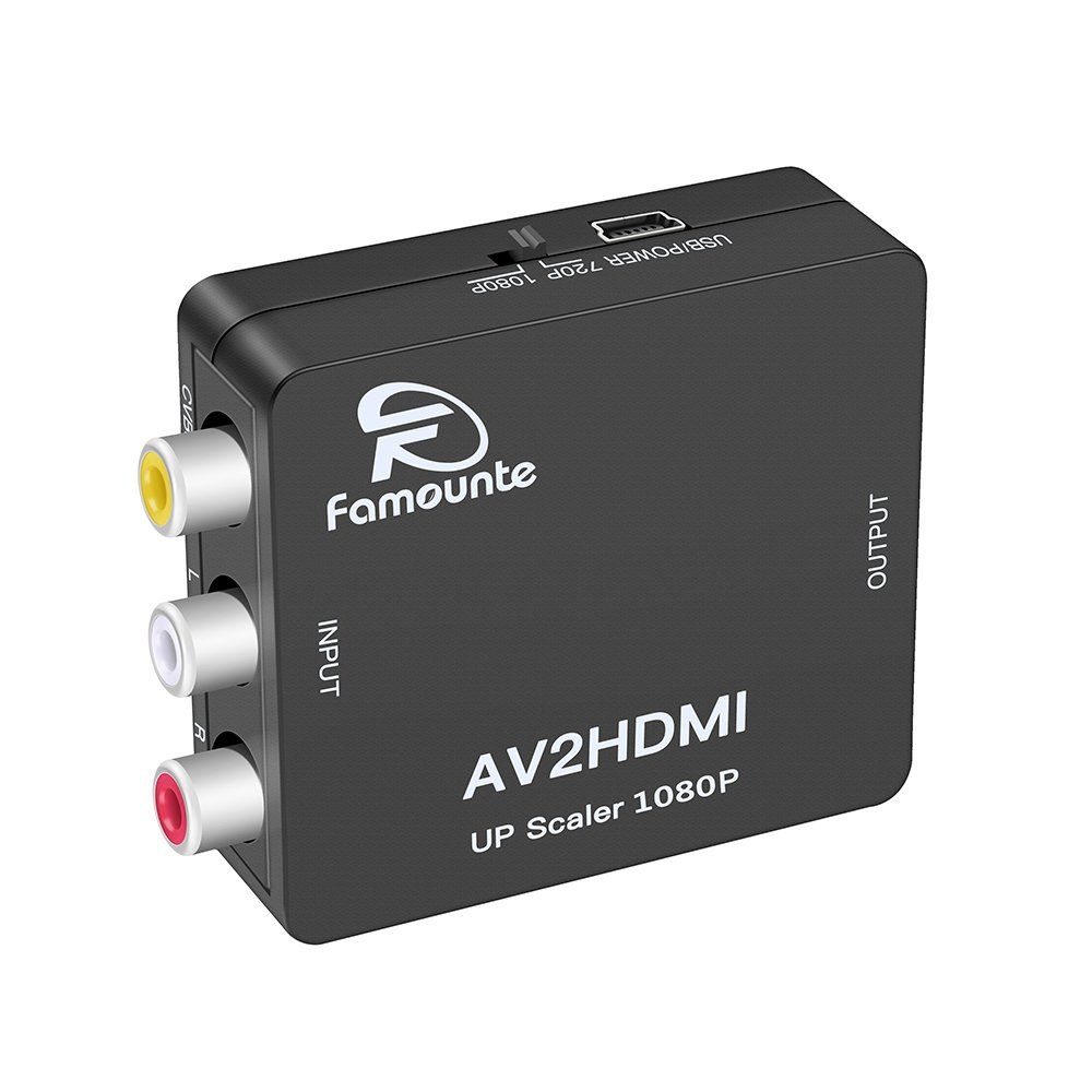 Composite to HDMI,Famounte 3RCA/AV/CVBS/Composite to HDMI Converter Adapter Full HD 720P/1080P Video Audio Mini Adaptor with USB Power Cable for PS2/PS3/VHS/VCR/Blue-Ray DVD Players to HDTV/Projector by Famounte