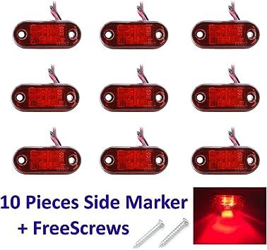 PolarLander 10PCS//Set 2 LED Auto Car Truck Trailer Caravan Side Marker Light Lamp 12V 24V Red Color Universal