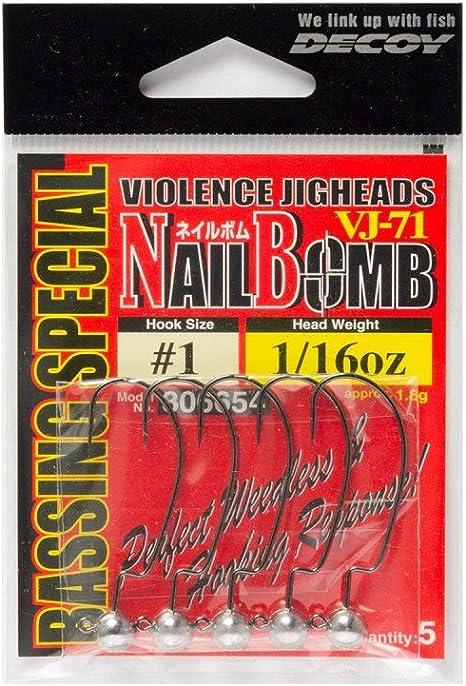 Decoy VJ-71 Jig Head Nail Bomb Hook Size 1 1//8 oz 6661