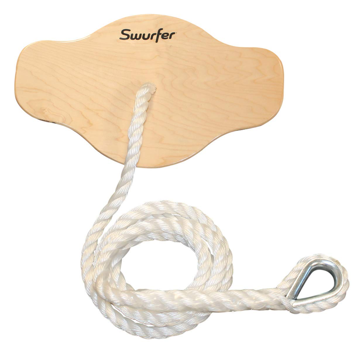 Swurfer Swift - Maple Wood Disc Swing for Kids Ages 4 and Up, Holds up to 150 Pounds - Includes 18'' Curved Seat Swing with Heavy Duty Braided Rope by Swurfer
