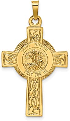 Solid Two Tone Yellow Gold Pendant,Saint Michael Pendant,Gold Cross,Pray For Us,Celtic Cross,Gold Necklace,Saint Charm,Handmade Jewelry