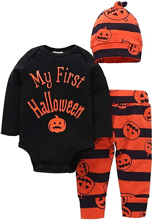 Baby Boys Girls Outfit Set Long Sleeve Cartoon Halloween Pumpkin Face Romper with Hat