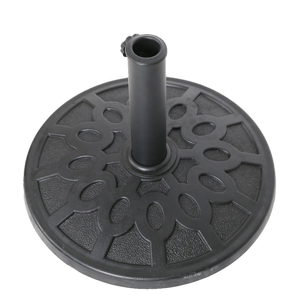 KARMAS PRODUCT 17-Inch Round Heavy Duty Outdoor Patio Umbrella Base Stand, Made From Rust Proof Composite Materials, Black