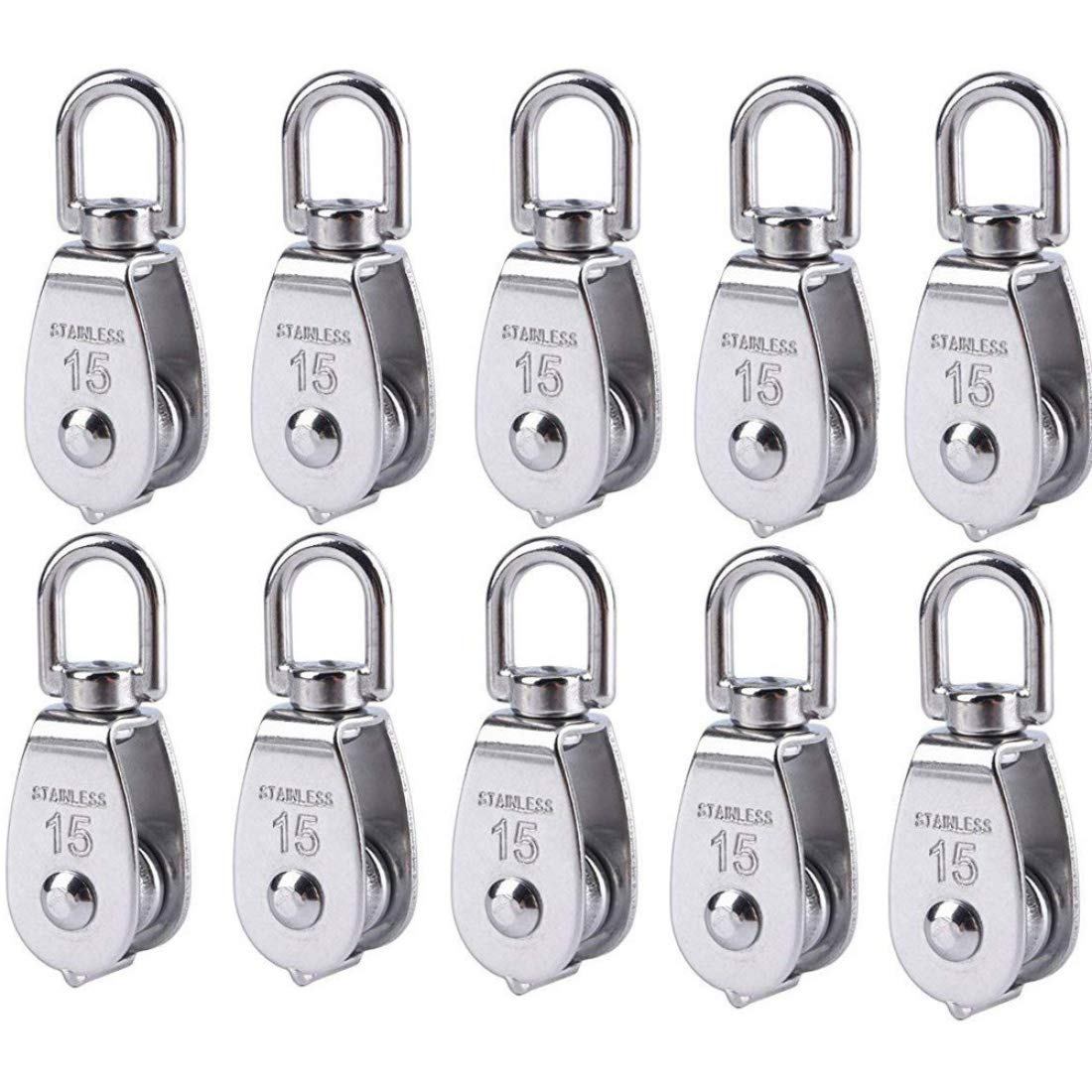 Nxtop Stainless Steel Wire Rope Crane Pulley Block M15 Lifting Crane Swivel Hook Single Pulley Block Hanging Wire Towing Wheel 10Pcs
