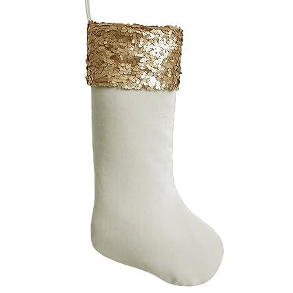 gireshome gold sequin blingbling glitter cuff white velvet christmas stocking xmas tree decor festival party ornament - Gold Christmas Stocking