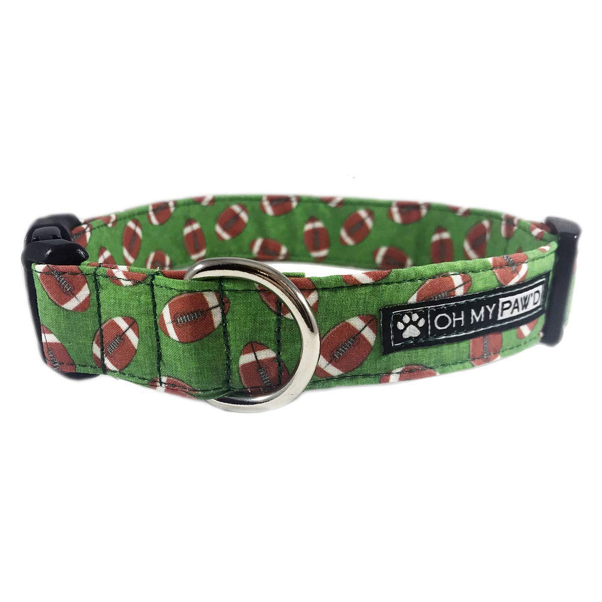 Football Dog or Cat Collar for Pets Size Extra Small with Extra Length 5/8'' Wide and 7-13'' Long by Oh My Paw'd