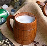 NOOLIM Eco-friendly 400ml Classical Wooden Beer Tea Coffee Cup Water Cup Heatproof Home Office Party Drinkware Cups