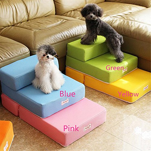 "Mltao L26.3"" x W15.3"" x H7.8"" 2 Levels Easy Step dog stairs Removable Fabric Cover,Old Dog Small Dog Easy Up Step, Pink"