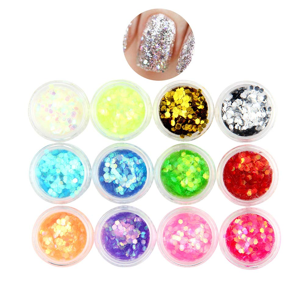 Aolvo Eco Face Glitter, Confezione Da 12 Pezzi Chunky Big Hexagon Nail Glitter Colorati Face Glitter Festival