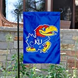 "Perfect for your garden or home entrance is our University of Kansas Garden Flag! This double sided NCAA Garden Flag measures a large 13"" x 18"", has a Double Stitched border, a 1 inch top sleeve, and is made of 2 ply Polyester so the logos are Viewab..."