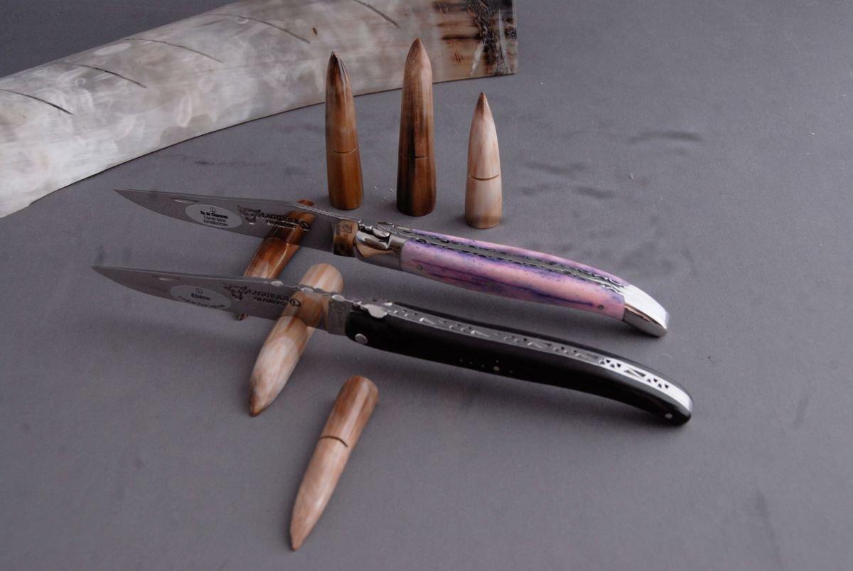Laguiole en Aubrac 6 Soporte para cuchillos en Cuerno Punta, artesanal fabricado en Francia: Amazon.es: Jardín