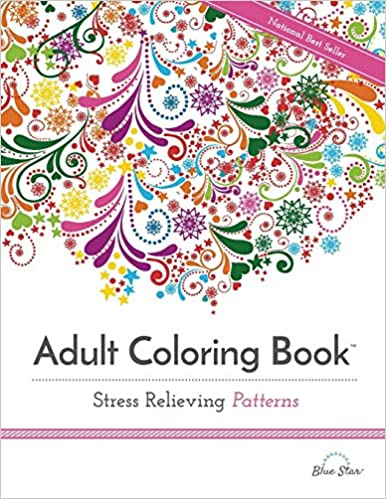 Adult Coloring Book: Stress Relieving Patterns: Blue Star ...